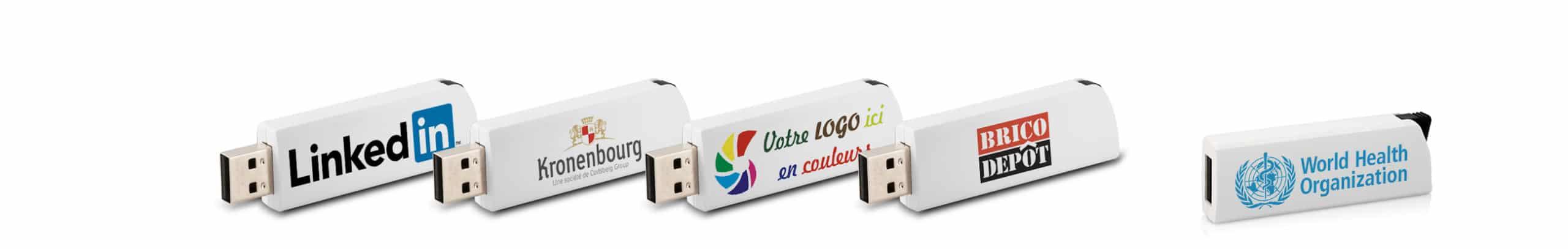 lot de Clés USB personnalisées Click avec logos kronembourg brico-depot et linkedin