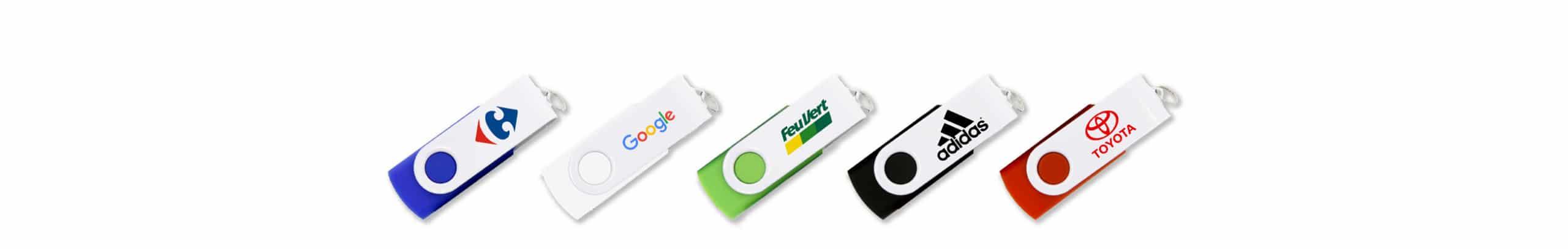 lot de clés usb personnalisables Twister Snow avec logo FeuVert, Addidas, Toyota