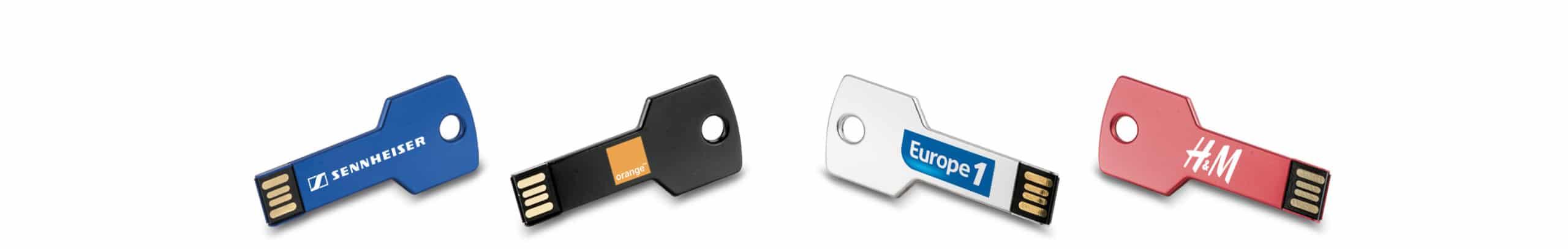 Ensemble de clés USB publicitaires en forme de clé avec logo Europe 1- Orange - H et M