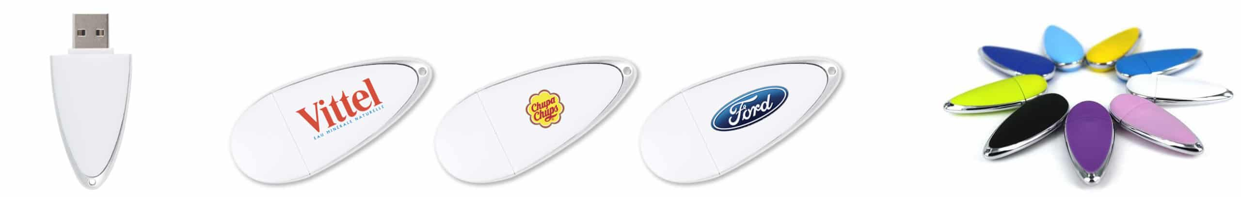 Lot de Clés USB personnalisables PAD exemples avec logos vittel chuppa chups et Ford