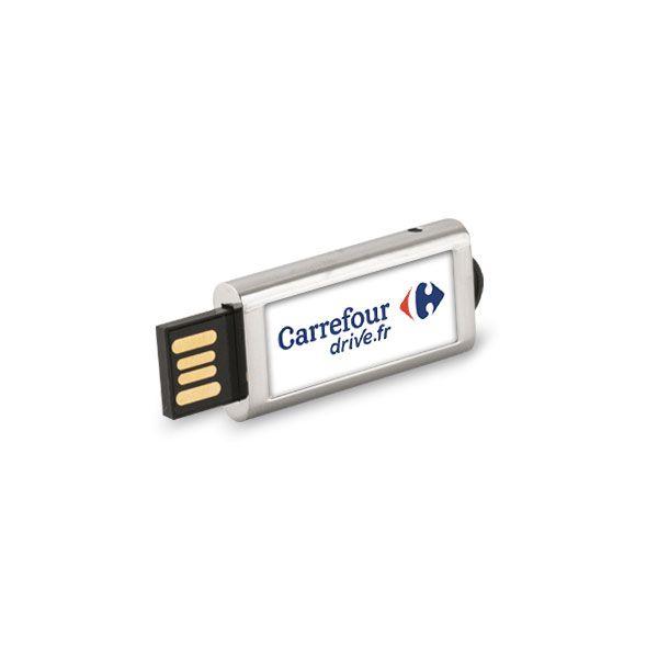 Clé USB publicitaire rétractable Slide logo carrefour drive