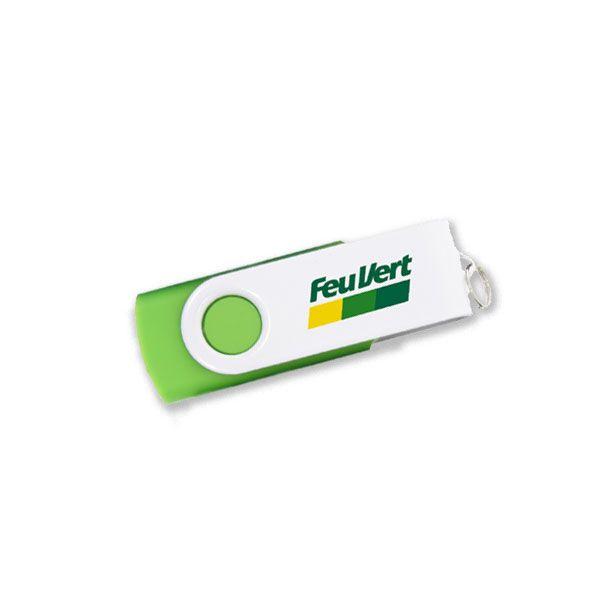 clé USB personnalisable Twister Snow avec logo FeuVert