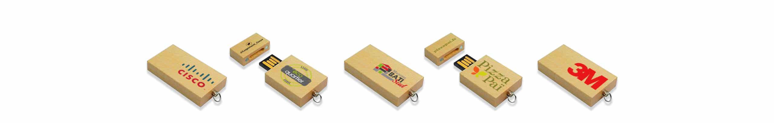 lot de clés USB bois personnalisées de myUsb.fr