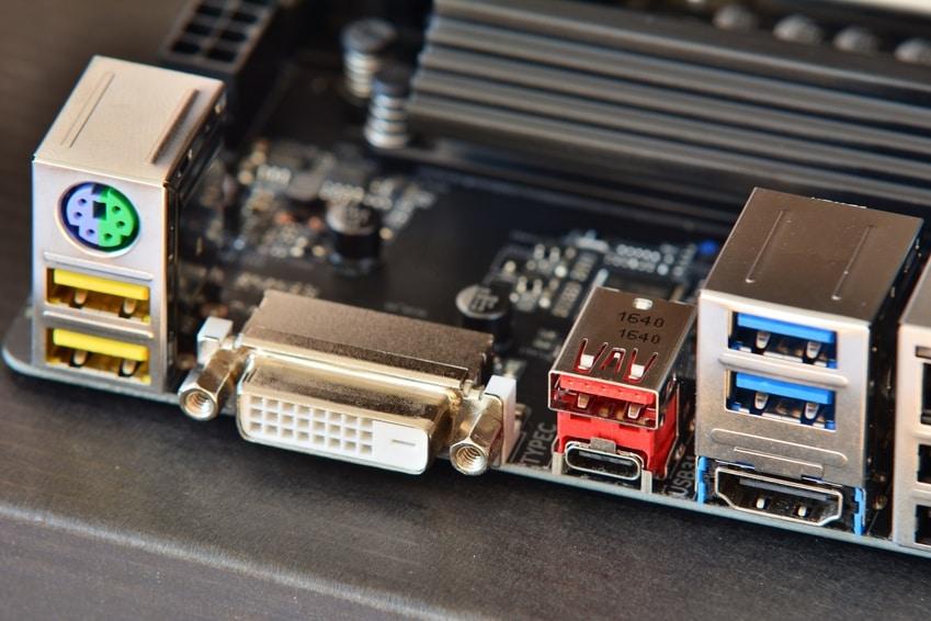 port externe de carte mère avec port USB 2.0 et port USB 3.0 bleu